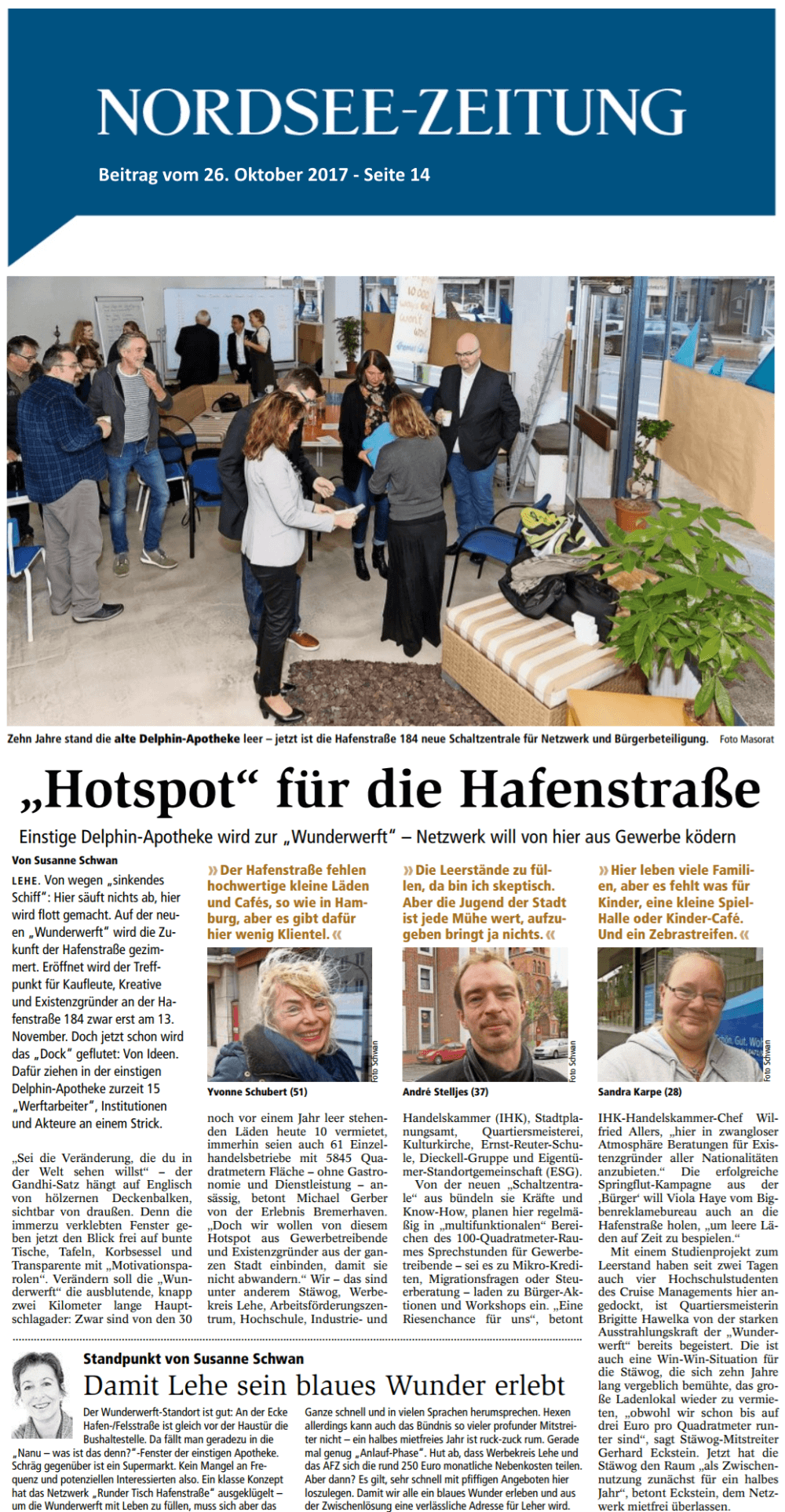 Beitrag zur wunderwerft in der Nordsee-Zeitung vom 26.10.2017