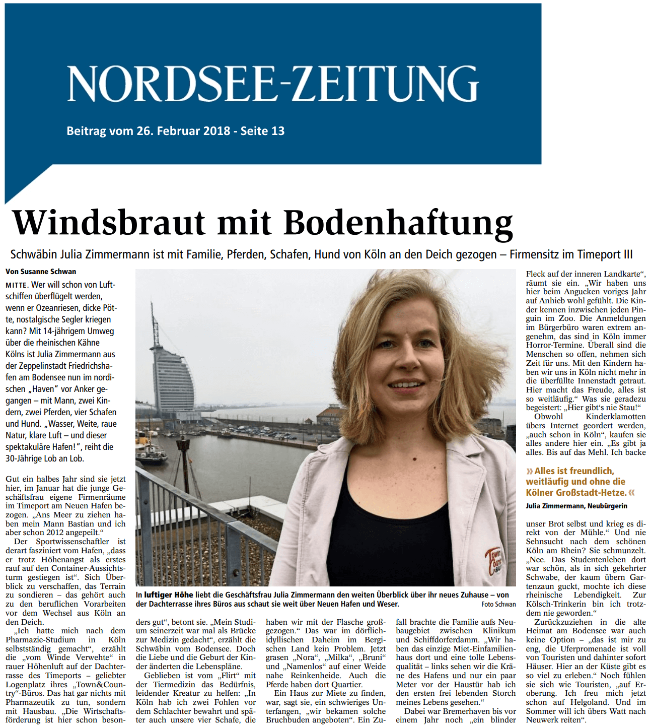 Town & Country in der Nordsee Zeitung
